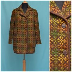 Vintage coat real Welsh Tapestry by VintageGreenClothing, Tweed Overcoat, Orange And Turquoise, Tailored Jacket, Vintage Coat, Collar Styles, Lining Fabric, Green Jacket, Comfortable Outfits, Welsh