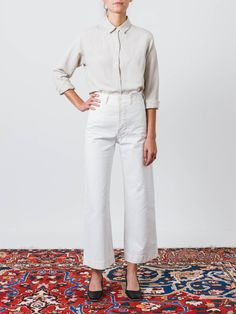 Salt White Kamm Pants