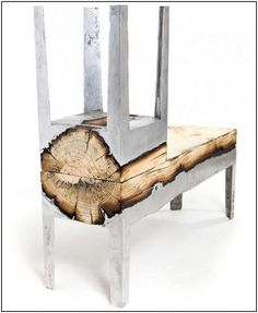 recycled wood and stainless steel furniture  .  This is so cool