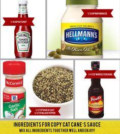 Raising Cane's Sauce (recipe). Shut the front door! My kids love this stuff.