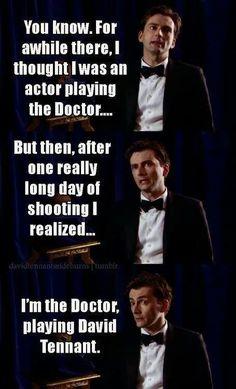 "Doctor Who - David Tennant. ,,I'm the Doctor playing David Tennant"" :) Doctor Who, 10th Doctor, Geronimo, David Tennant, Fandoms, Don't Blink, Por Tv, Torchwood, Film Serie"