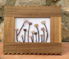 Pebble Art, Beach Pebble Picture, Heartscape in Wooden Frame, Wall Art, Stone Art, Pebble Art, Gift Idea, Home Decor