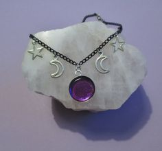 pastel goth celestial necklace, moon necklace, gothic necklace, pagan jewelry, wiccan jewelry, kawaii necklace, witchy necklace, soft grunge