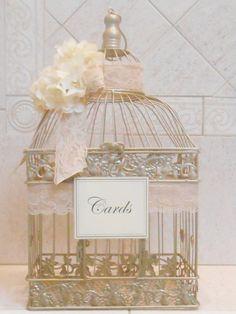 Grande cage à oiseaux mariage porte-carte / Champagne par ThoseDays