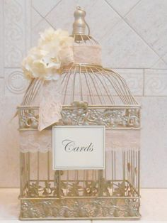Large Birdcage Wedding Card Holder / Champagne Gold by ThoseDays