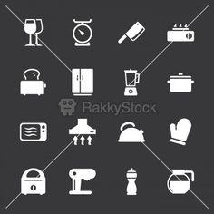 Kitchen Utensils Icons - White Series   EPS10