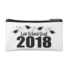 Law School Grad 2018 Caps And Diplomas (Black) Makeup Bag - law gifts lawyer business diy cyo personalize