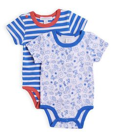 Look at this #zulilyfind! Daphne Blue & Mango Stripe Bodysuit Set by Pumpkin Patch #zulilyfinds