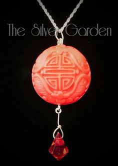 Red Cinnabar Necklace, Chinese Symbol, Art Deco Crystal, 'Longetivity' Vintage Hand Carved Charm, Valentines Gift, Chinese Charm, Lacquer