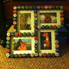 For valentines day I got my boyfriend a collage picture frame and glued beer tops to it! Very fun project!