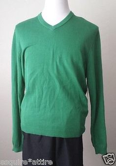 Ashworth men size M #cotton green color v-neck sweater NWT visit our ebay store at  http://stores.ebay.com/esquirestore