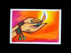 Drawing For Diwali Festival Easy Rangoli Designs Videos, Rangoli Designs Simple Diwali, Rangoli Designs Flower, Free Hand Rangoli Design, Rangoli Ideas, Simple Canvas Paintings, Oil Pastel Paintings, Oil Pastel Art, Watercolor Paintings