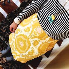forever21 striped sweater + fan fringe pendant necklace via eBay + j crew pencil skirt {office attire}