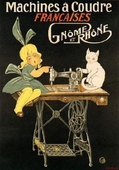 vintage cats loved sewing, too