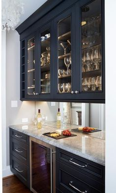 pantry cabinet Dark Blue Butlers Pantry Cabinets with Mirror Backsplash - Transitional - Dining Room Dining Room Bar, Kitchen Dining, Kitchen Decor, Cabinets In Dining Room, Dining Room Mirrors, Bar Cabinets For Home, Dining Rooms, Dark Blue Dining Room, Home Bar Cabinet
