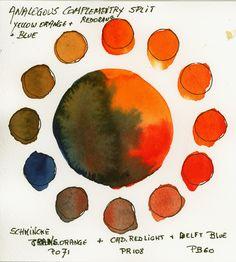 Analogous Split Complementaries with Schmincke Horadam Watercolors
