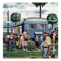 """Trailer Park Garden"", February 2, 1952 Giclee Print by Stevan Dohanos at AllPosters.com"