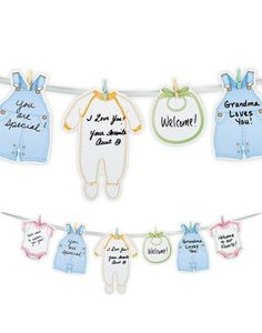 Welcome Baby Garland-Party City...would be easy to add buttons & bows to garland!!