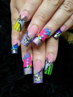 Purple n pink Nail Art Designs, Purple, Pink, Medium, Nails, Long Nails, Finger Nails, Ongles, Purple Stuff