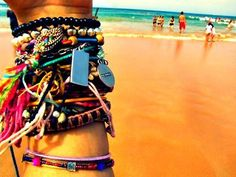 I tend to do this in the summer, put a bunch of bracelets on my arm. I'm weird.