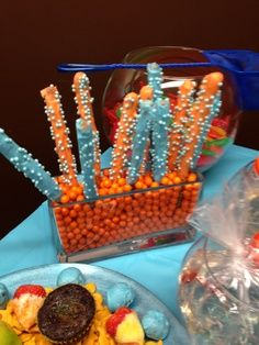 bubble guppies birthday party | Bubble Guppies birthday party. candy covered pretzel sticks