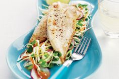 Asian-style coleslaw with grilled fish. Put a healthy spin on weeknight dinners with this grilled fish and coleslaw meal.