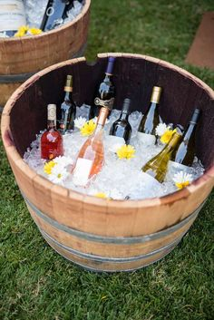 What a cool way to serve drinks! Check out the rest of this fabulous Summer of Love 50th Birthday Party!! See more party ideas and share yours at CatchMyParty.com #partyideas #drinks