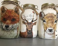 Kilner Jar, tall, painted in Cream and with Stag (Buck) or Roe Deer or Fox design applied. Hand finished with clear wax. For decorative use only. Each item is hand finished and done to order. We also have matching Wax Burner in this range Kilner Jars, Mason Jar Vases, Mason Jar Centerpieces, Mason Jar Gifts, Mason Jar Diy, Decoupage Jars, Napkin Decoupage, Mason Jar Projects, Jar Art