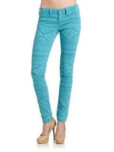 Design Lab - Soho Tribal Print Super Skinny Jeans   Cool fashion idea! team with white denim vest or jacket