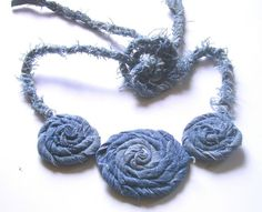 NECKLACE Jeans Bib Upcycled by recyclingroom on Etsy, $25.00