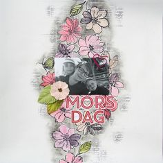 Saras pysselblogg - Sara Kronqvist: Morsdag | Scrapbook layout with Altenew stamps in focus. Pink and grey tones