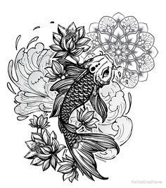 Koi Mandala Carp by KalikaGraphisme Asian Tattoos, Dope Tattoos, Pretty Tattoos, Leg Tattoos, Sleeve Tattoos, Japanese Koi Fish Tattoo, Japanese Back Tattoo, Koi Fish Drawing, Colombe Tattoo