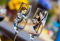 wedding glasses for bride and groom in traditional Romanian costumes with the Romanian flag Wedding Themes, Wedding Decorations, Romanian Flag, Romanian Wedding, Wedding Wine Glasses, Dream Wedding, Wedding Dreams, Travel Themes, Wedding Details