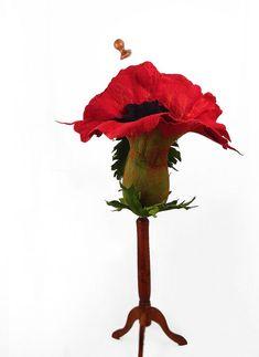 Red Bag Flower Bag Felted Bag Fairy Bag Poppy Purse Nunofelt