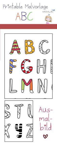Ein Printable (Malvorlage & Ausmalbild) Buchstaben lernen. Für kleine schlaue Füchse in Kindergarten, Kita und Grundschule, die das Alphabet bunt machen möchten. ;)
