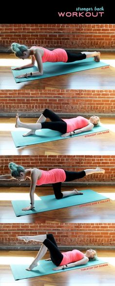 Stronger back workout includes plank, straight leg raise, opposite arm & leg lift, and tabletop tap-downs.  Inspired by Mira.