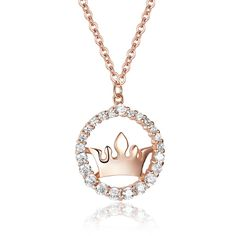 Rose Gold Crown Pendant Necklace Jewellery