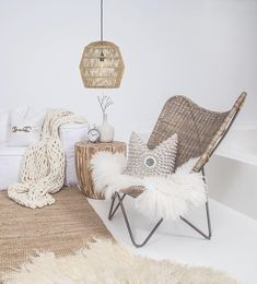 Butterfly chair - Lots of organic and natural textures featured in this stunning living space! 🌿🍂Featuring Uniqwa's ➳ Tobago Butterfly Chair ➳ Klop Side Table made with reclaimed decade old characteristic tea Living Room Decor, Living Spaces, Bedroom Decor, Deco Studio, Butterfly Chair, Nature Decor, Zara Home, Handmade Furniture, Natural Texture