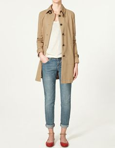 zara cotton trench $129 - found one in black very similar to this, made by old navy, at the thrift store today for $8.