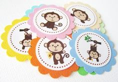 Monkey Favor Tags for Birthday Baby Shower Party Bag Label | adorebynat - Paper/Books on ArtFire