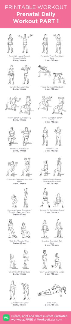 Prenatal Daily Workout PART 1: my visual workout created at WorkoutLabs.com • Click through to customize and download as a FREE PDF! #customworkout