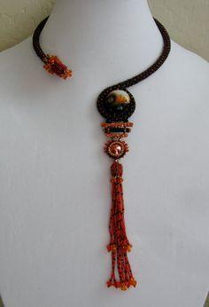 Beaded Necklace with Japanese Twist EBWC. $150.00, via Etsy.