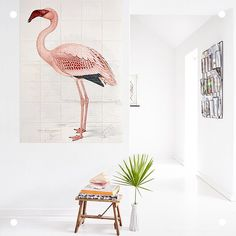 This pretty pink Flamingo IXXI of the 'Natural History Museum' can cover any wall you want now. It's available in our brand new collection! Foto Flamingo, Greater Flamingo, Big Wall Art, Wonderful Picture, Aesthetic Bedroom, History Museum, Home Again, Pink Flamingos, Natural History
