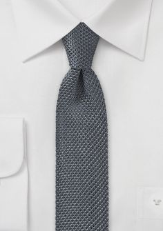 Charcoal Skinny Tie Knitted Silk | $15