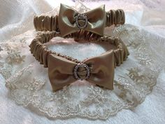 The Donatella Gold Garter Set. Metallics Collection. by Garnize, $86.00. Free Shipping.  Wedding Garters of distinction.
