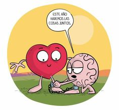No será este 😊 Heart Vs Mind, Crazy Heart, Cute Quotes, Funny Quotes, Funny Memes, Heart And Brain Comic, The Awkward Yeti, Typography Quotes, Funny Love