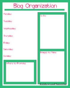 Printable blog organization sheets. :)