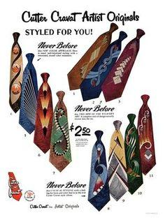 AP2214 - Cutter Cravats, Vintage Menswear Tie Advert, 1950s (30x40cm Art Print)