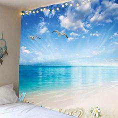 Seagulls Seascape Waterproof Wall Tapestry - Light Blue W59 Inch * L51 Inch Mobile
