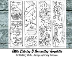 Genesis Chapters 1-9  #16 - bible journaling, black and white, PDF, sketches, bookmarks, coloring, bible verses, journaling by ForHisGloryStudio on Etsy